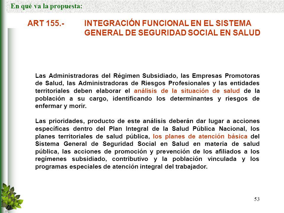 En qué va la propuesta: ART 155.- INTEGRACIÓN FUNCIONAL EN EL SISTEMA GENERAL DE SEGURIDAD SOCIAL EN SALUD.
