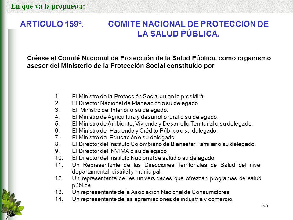 ARTICULO 159º. COMITE NACIONAL DE PROTECCION DE LA SALUD PÚBLICA.