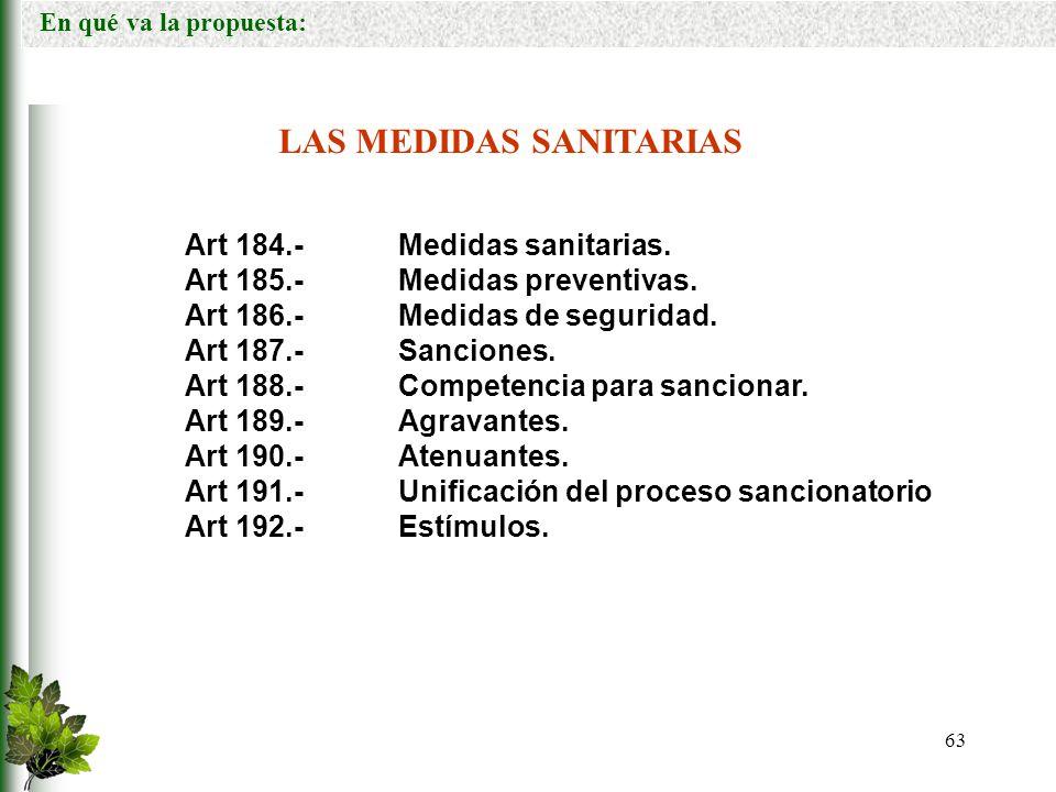 LAS MEDIDAS SANITARIAS