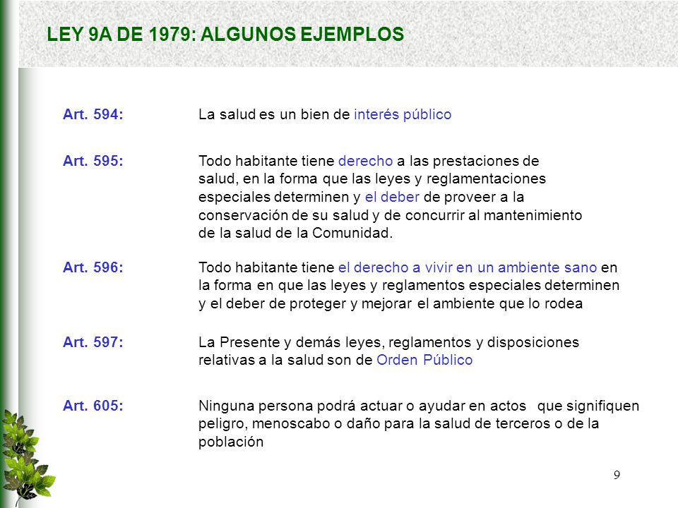 LEY 9A DE 1979: ALGUNOS EJEMPLOS