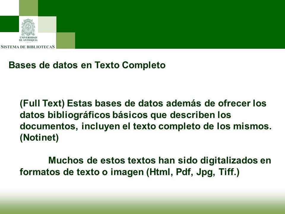 Bases de datos en Texto Completo