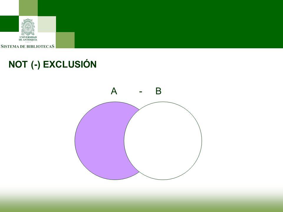 NOT (-) EXCLUSIÓN A - B