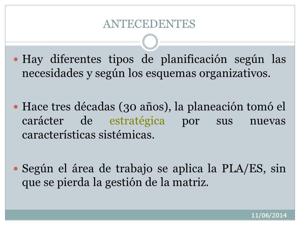 ANTECEDENTES Hay diferentes tipos de planificación según las necesidades y según los esquemas organizativos.