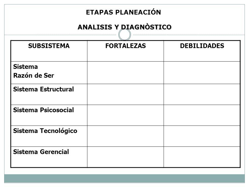 ETAPAS PLANEACIÓN ANALISIS Y DIAGNÒSTICO