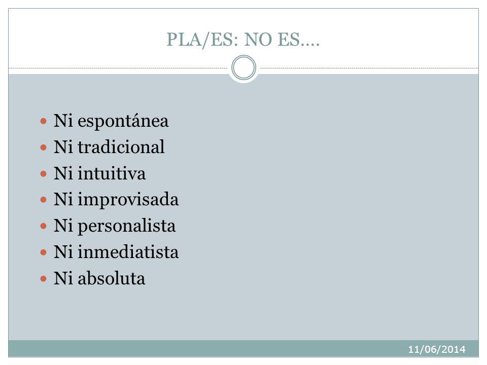 PLA/ES: NO ES…. Ni espontánea Ni tradicional Ni intuitiva