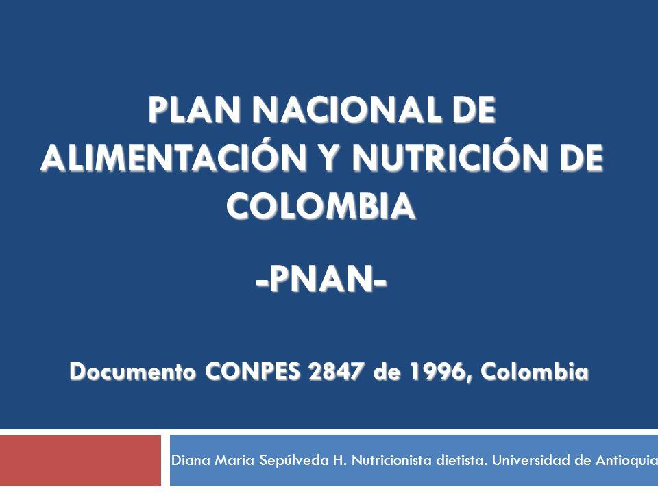 PLAN NACIONAL DE ALIMENTACIÓN Y NUTRICIÓN DE COLOMBIA -PNAN-