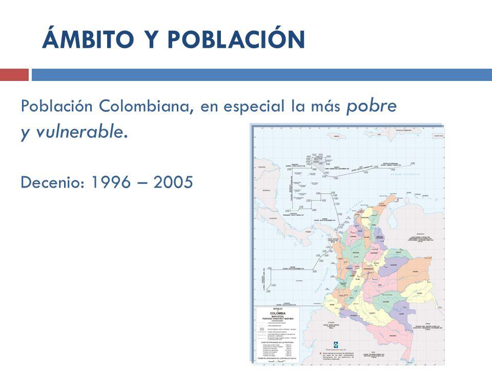 ÁMBITO Y POBLACIÓN Población Colombiana, en especial la más pobre y vulnerable.