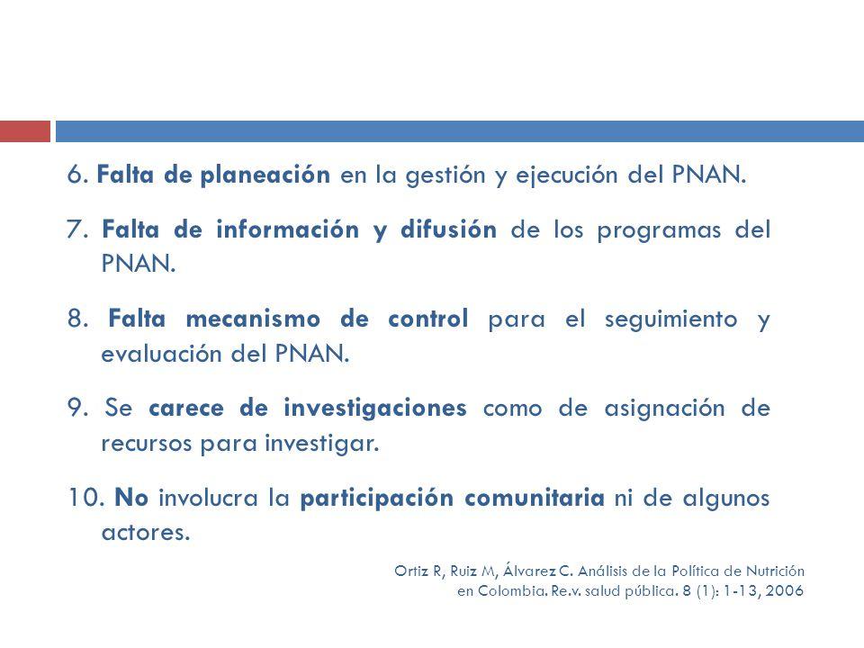 6. Falta de planeación en la gestión y ejecución del PNAN.