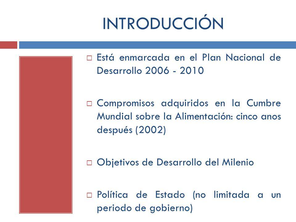 INTRODUCCIÓN Está enmarcada en el Plan Nacional de Desarrollo 2006 - 2010.