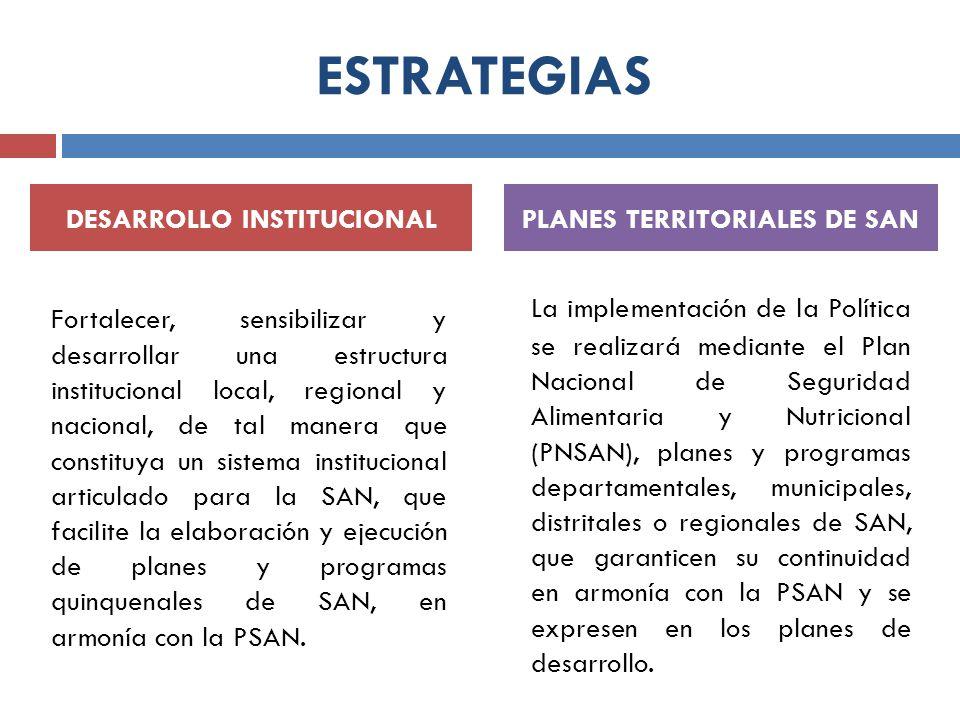 DESARROLLO INSTITUCIONAL PLANES TERRITORIALES DE SAN