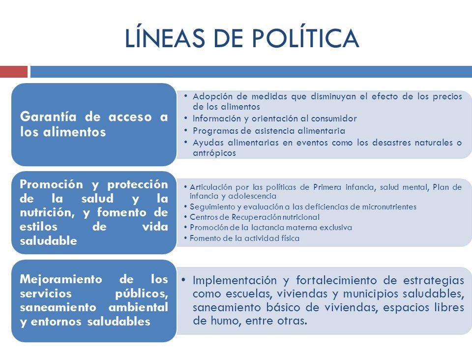 LÍNEAS DE POLÍTICA Garantía de acceso a los alimentos