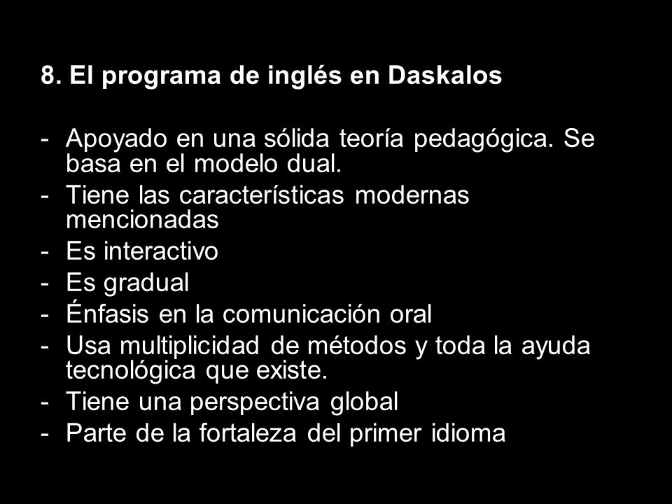 8. El programa de inglés en Daskalos
