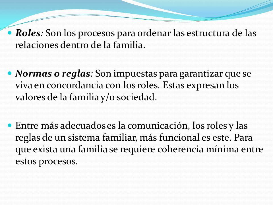 Roles: Son los procesos para ordenar las estructura de las relaciones dentro de la familia.