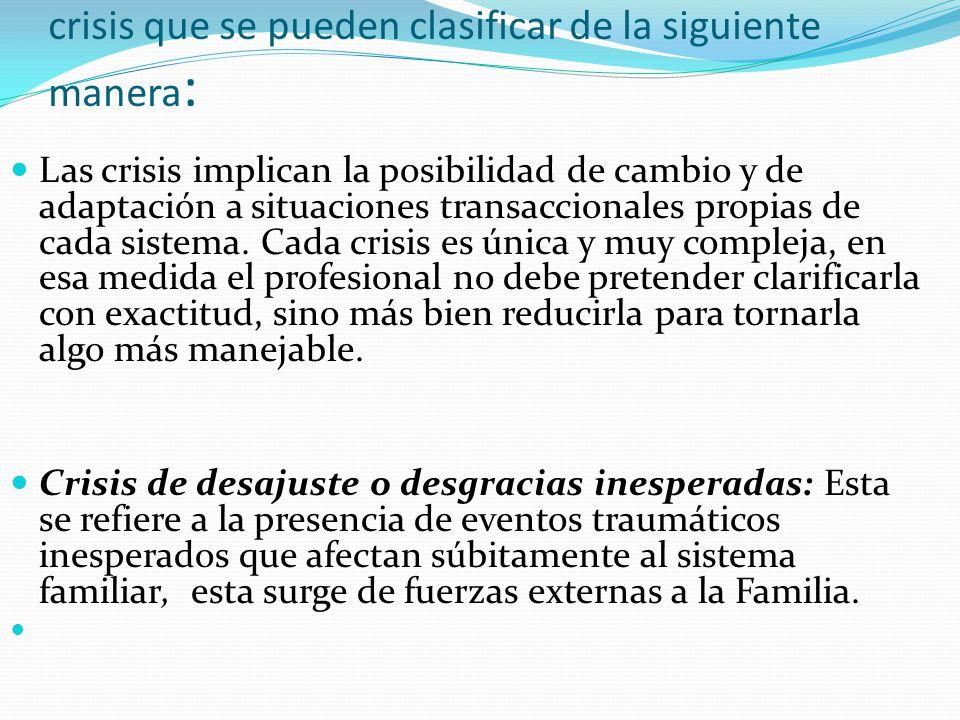 crisis que se pueden clasificar de la siguiente manera: