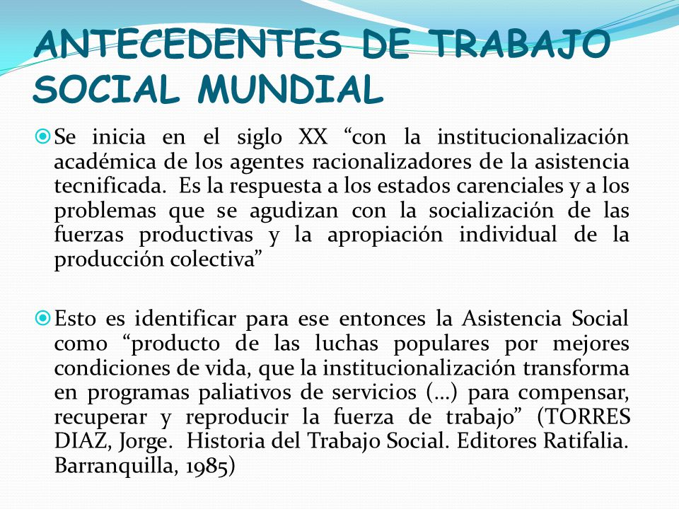 ANTECEDENTES DE TRABAJO SOCIAL MUNDIAL