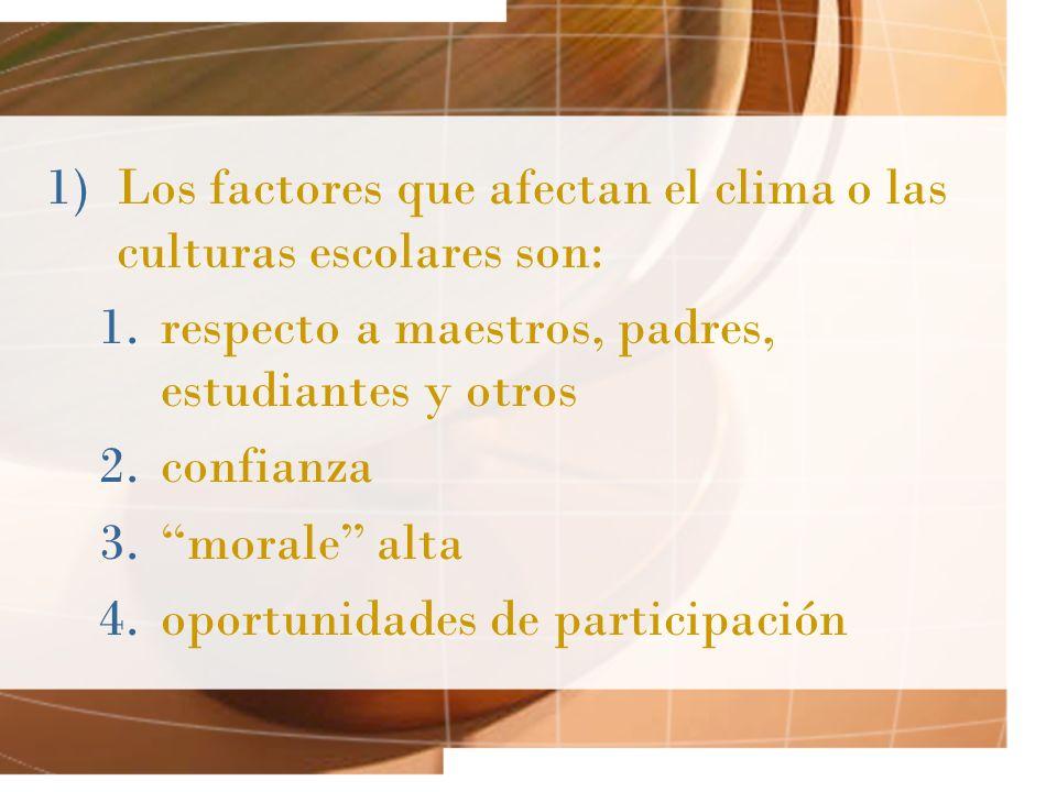 Los factores que afectan el clima o las culturas escolares son: