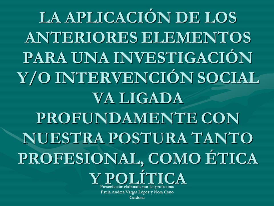 LA APLICACIÓN DE LOS ANTERIORES ELEMENTOS PARA UNA INVESTIGACIÓN Y/O INTERVENCIÓN SOCIAL VA LIGADA PROFUNDAMENTE CON NUESTRA POSTURA TANTO PROFESIONAL, COMO ÉTICA Y POLÍTICA