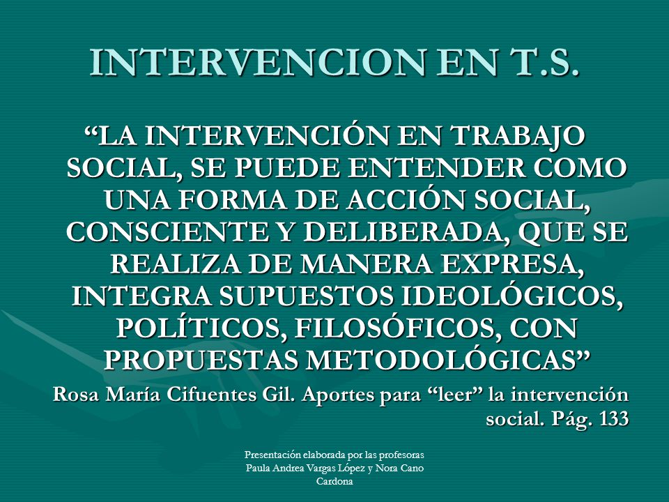 INTERVENCION EN T.S.