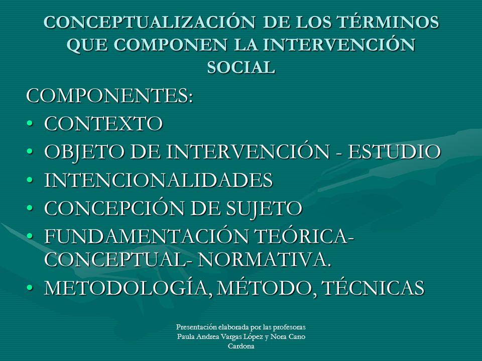CONCEPTUALIZACIÓN DE LOS TÉRMINOS QUE COMPONEN LA INTERVENCIÓN SOCIAL