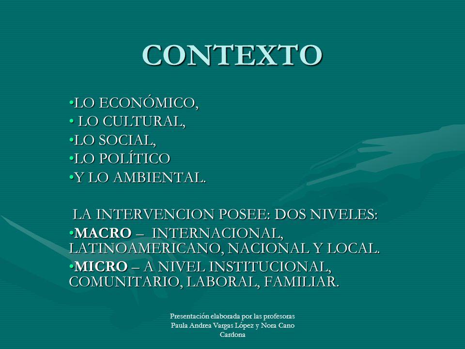 CONTEXTO LO ECONÓMICO, LO CULTURAL, LO SOCIAL, LO POLÍTICO