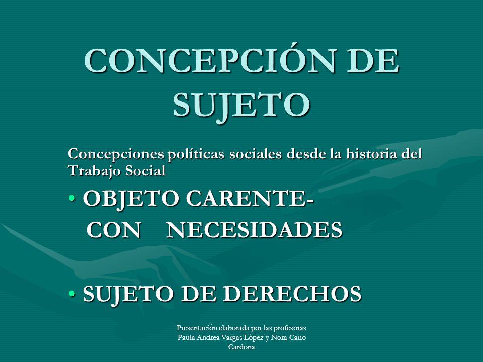 CONCEPCIÓN DE SUJETO OBJETO CARENTE- CON NECESIDADES