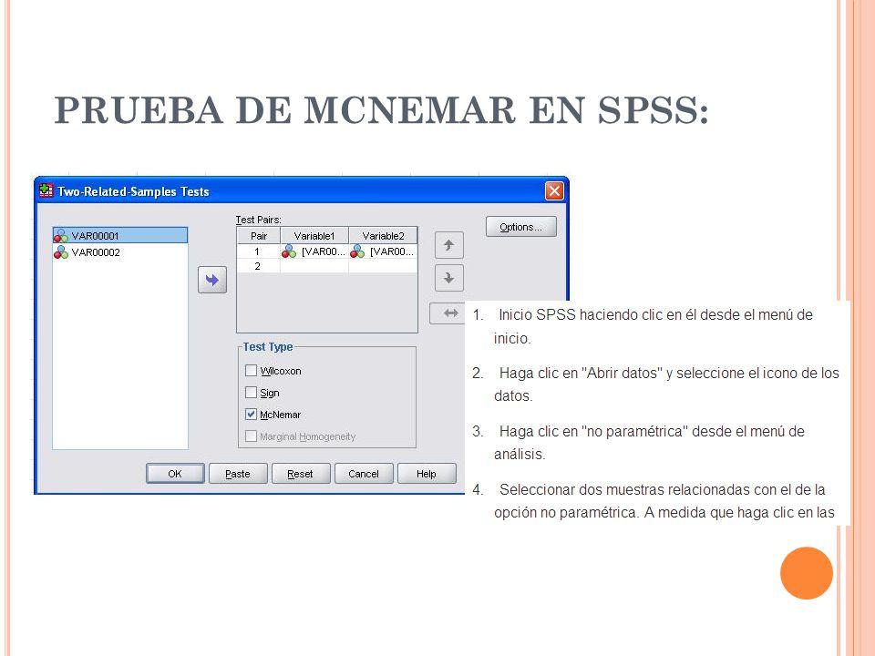 PRUEBA DE MCNEMAR EN SPSS: