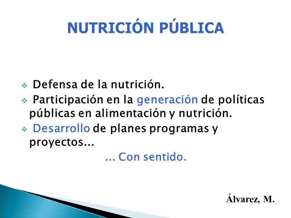 NUTRICIÓN PÚBLICA Defensa de la nutrición.