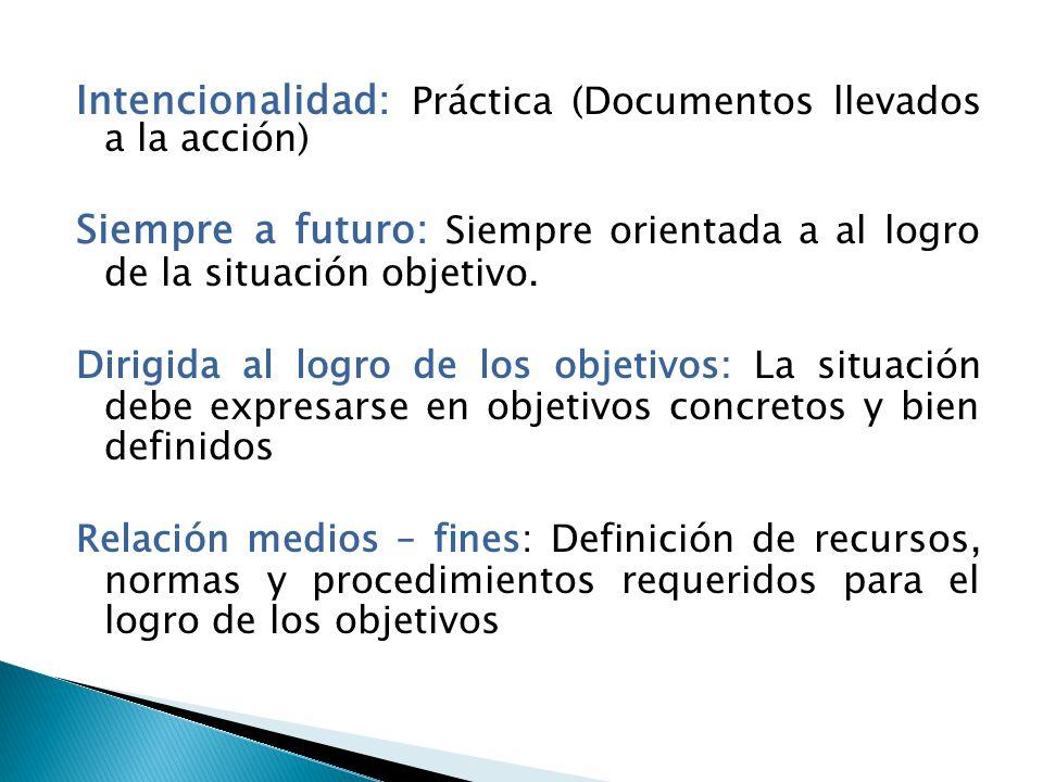 Intencionalidad: Práctica (Documentos llevados a la acción)