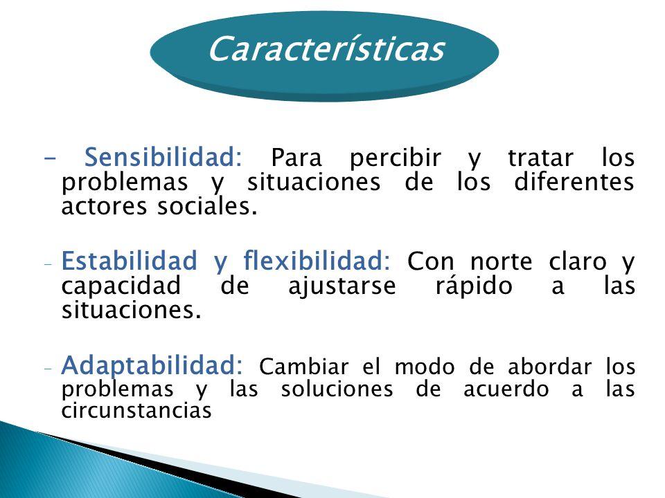 Características - Sensibilidad: Para percibir y tratar los problemas y situaciones de los diferentes actores sociales.