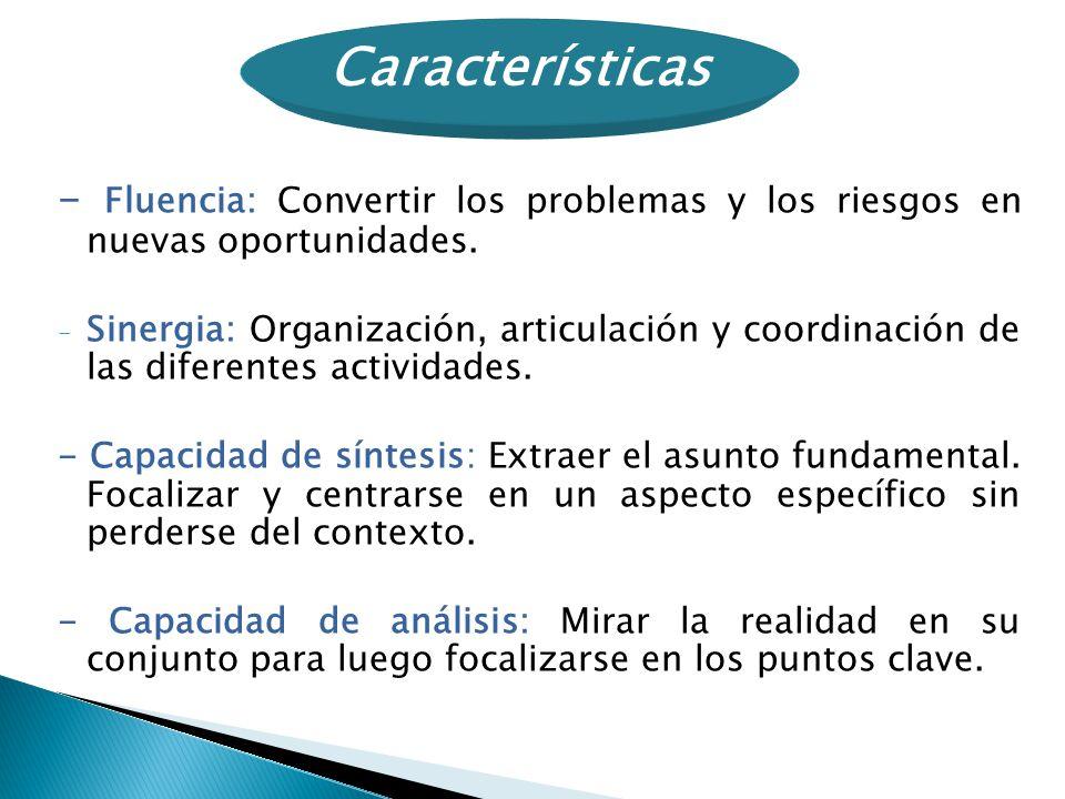 Características - Fluencia: Convertir los problemas y los riesgos en nuevas oportunidades.