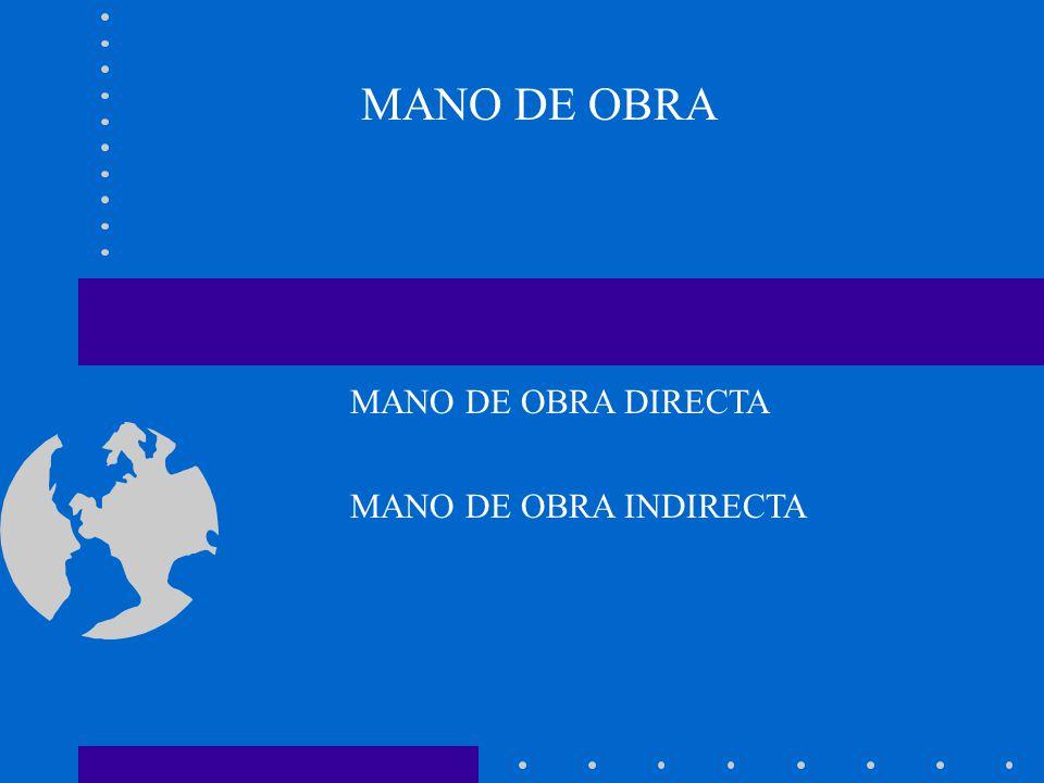 MANO DE OBRA MANO DE OBRA DIRECTA MANO DE OBRA INDIRECTA