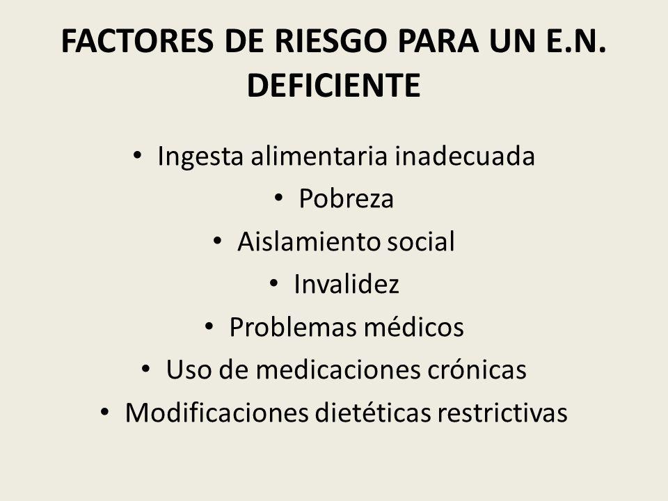 FACTORES DE RIESGO PARA UN E.N. DEFICIENTE