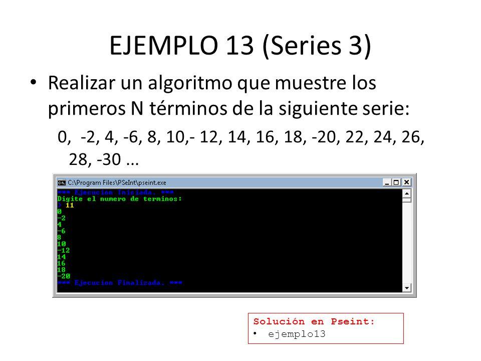 EJEMPLO 13 (Series 3) Realizar un algoritmo que muestre los primeros N términos de la siguiente serie: