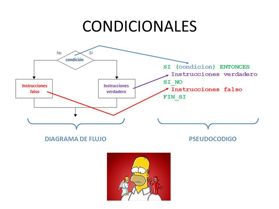CONDICIONALES DIAGRAMA DE FLUJO PSEUDOCODIGO