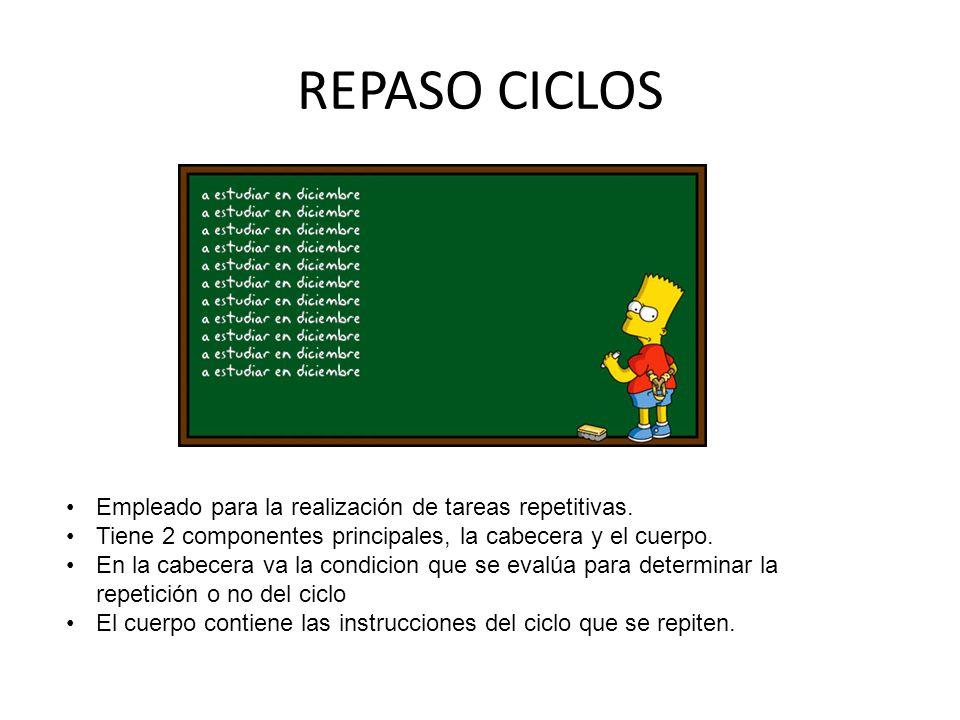 REPASO CICLOS Empleado para la realización de tareas repetitivas.