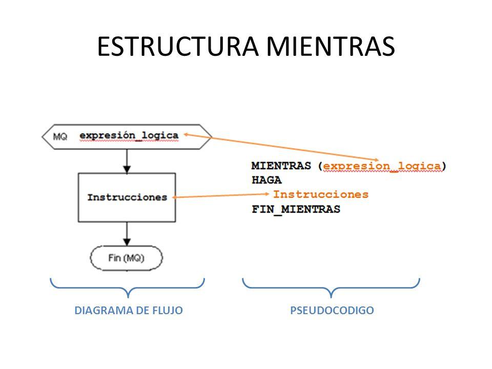 ESTRUCTURA MIENTRAS DIAGRAMA DE FLUJO PSEUDOCODIGO