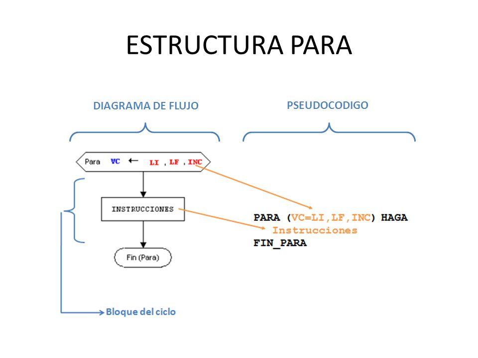 ESTRUCTURA PARA DIAGRAMA DE FLUJO PSEUDOCODIGO