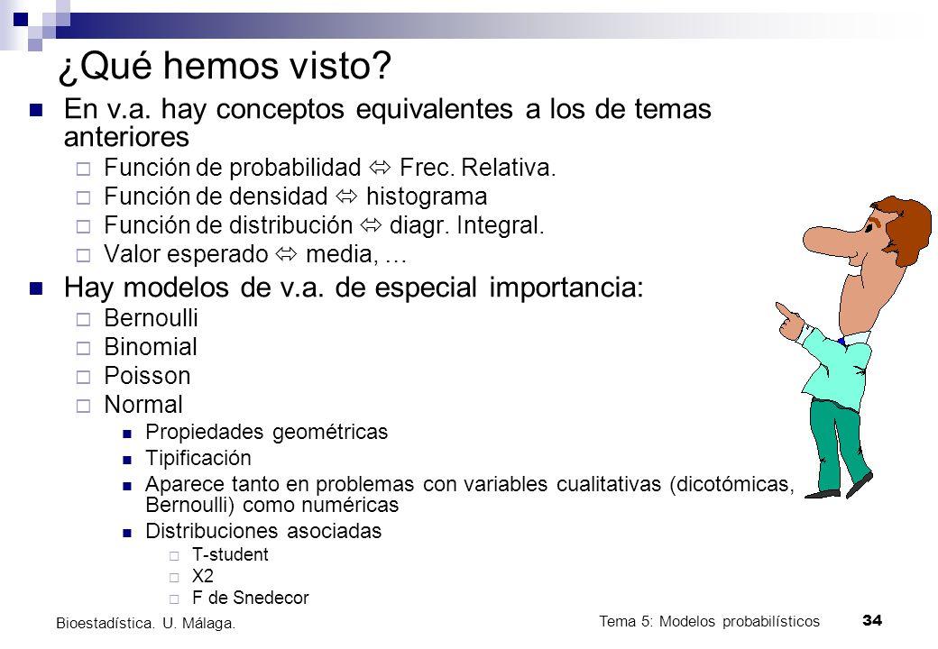 ¿Qué hemos visto En v.a. hay conceptos equivalentes a los de temas anteriores. Función de probabilidad  Frec. Relativa.