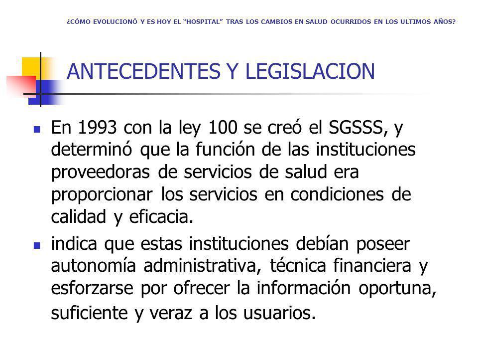En 1993 con la ley 100 se creó el SGSSS, y determinó que la función de las instituciones proveedoras de servicios de salud era proporcionar los servicios en condiciones de calidad y eficacia.