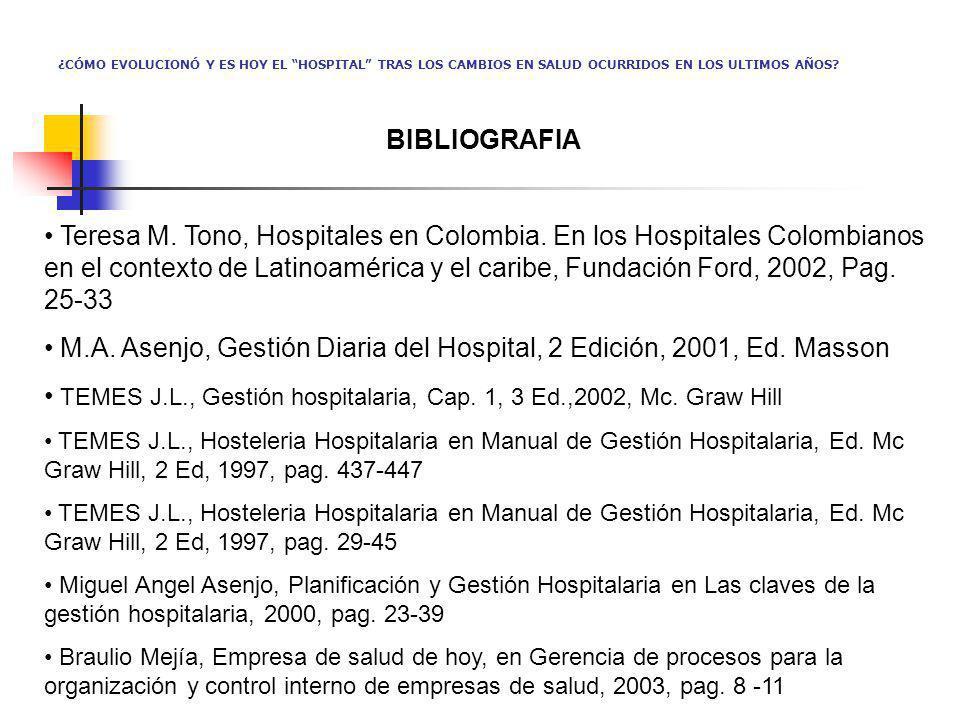 M.A. Asenjo, Gestión Diaria del Hospital, 2 Edición, 2001, Ed. Masson