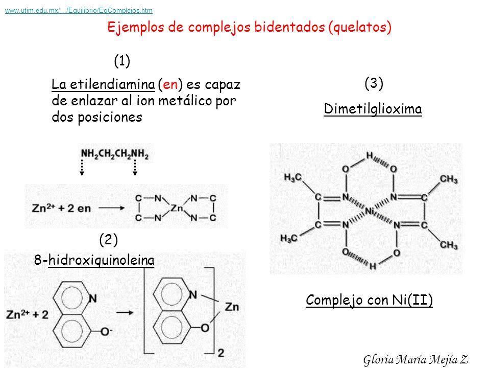 Ejemplos de complejos bidentados (quelatos)