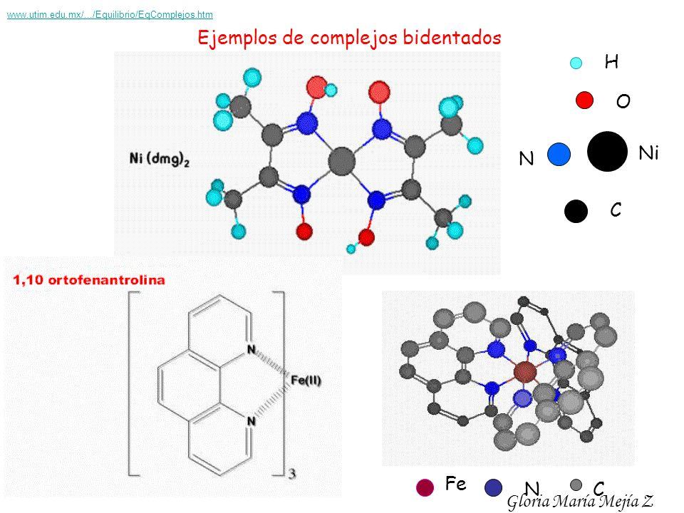 Ejemplos de complejos bidentados H