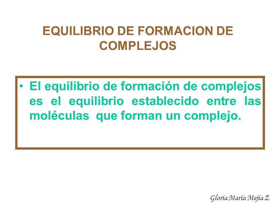 EQUILIBRIO DE FORMACION DE COMPLEJOS