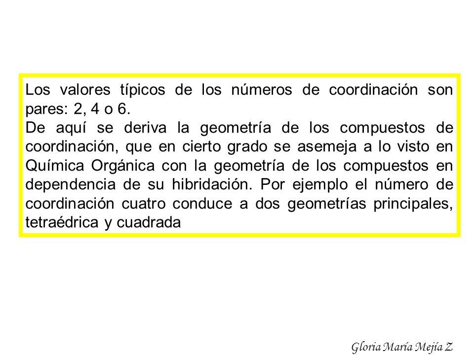 Los valores típicos de los números de coordinación son pares: 2, 4 o 6.