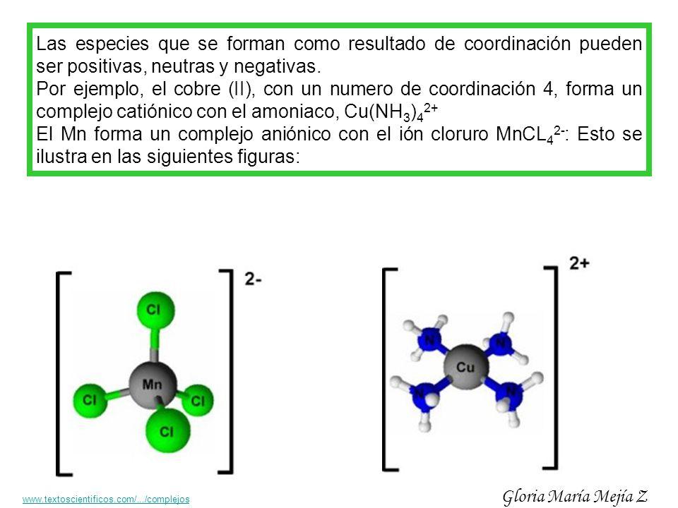 Las especies que se forman como resultado de coordinación pueden ser positivas, neutras y negativas.