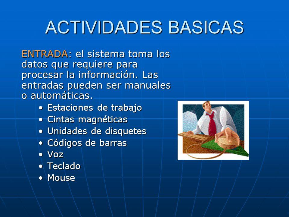 ACTIVIDADES BASICAS ENTRADA: el sistema toma los datos que requiere para procesar la información. Las entradas pueden ser manuales o automáticas.