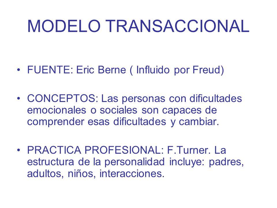 MODELO TRANSACCIONAL FUENTE: Eric Berne ( Influido por Freud)