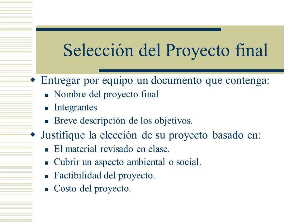 Selección del Proyecto final