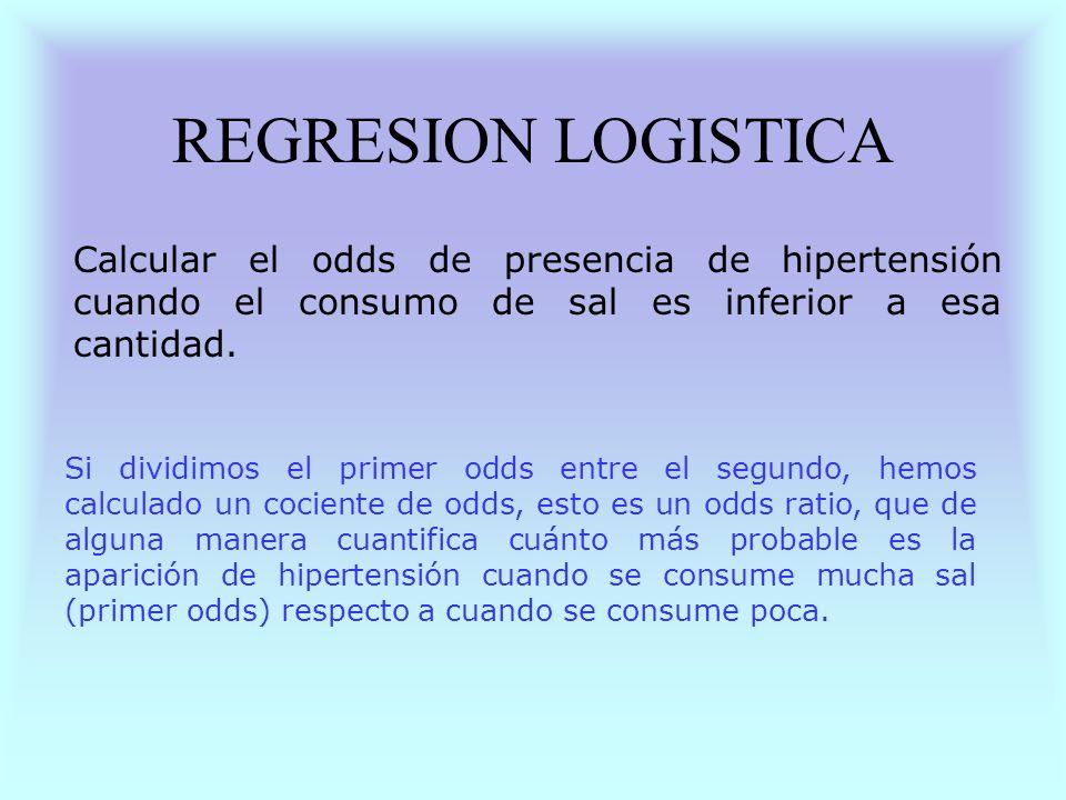 REGRESION LOGISTICA Calcular el odds de presencia de hipertensión cuando el consumo de sal es inferior a esa cantidad.