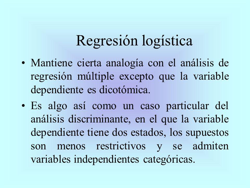 Regresión logística Mantiene cierta analogía con el análisis de regresión múltiple excepto que la variable dependiente es dicotómica.